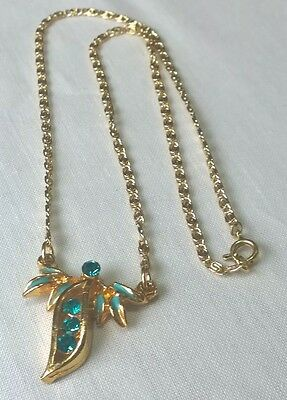 Vintage Art Deco style turquoise glass enamel chain necklace 18.5in Valentines