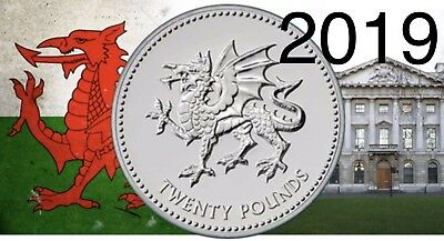 Royal Mint £20 Wales Coin The Welsh Dragon 2019 Uk Fine Silver Coin Rare #