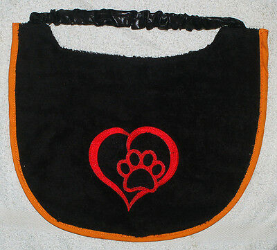Big Dog slobber bib with heart & paw design - Super comfortable - personalized