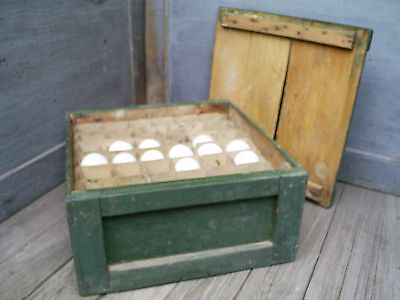 Primitive Painted Box Egg Carrier Crate & Milk Glass Blown Eggs AAFA Folk Art