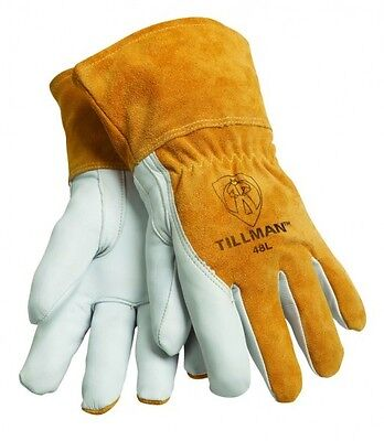 "Tillman 48 Medium MIG Welding Gloves Top Grain Goatskin/Cowhide 31/2"" Cuff 1Pair"