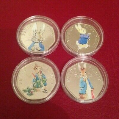 Set Of 4 Uncirculated Coloured All  Peter Rabbit 50P Coins 2016+2017+2018+2019