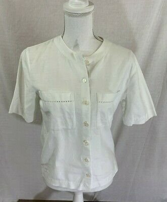 680999abb Women's Talbots Short Sleeve White Button Down Linen Blend Top Size Petite 6