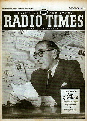 Radio Times 5 Oct 1958 . Any Questions Front Cover