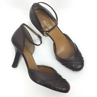 54b4c75fca45f Womens Aldo Size 39 Round Toe d'Orsay Braided Ankle Straps Buckle Pumps  Brown