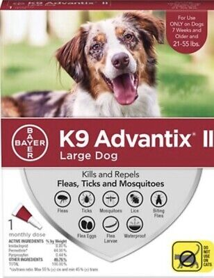 Bayer K9 Advantix II Flea Tick and Mosquito Protection for Large Dogs 21 - 55