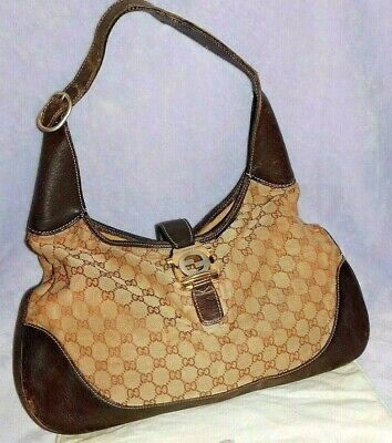 449b966f2 VINTAGE 1960's GUCCI GG MONOGRAM CANVAS HANDBAG, WITH BROWN LEATHER TRIM