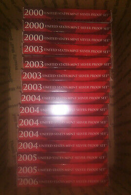2000-2006 Silver Proof Set Lot - 15 Complete Sets with COA's