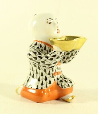 Herend Hungary Chinese Kneeling Boy Holding Gold Dish Porcelain Figurine 5653