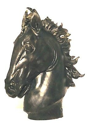 """Monumental 24"""" Horse Head Sculpture Durable Resin with """"Bronzed"""" Finish"""