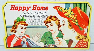 Vintage 1950's Happy Home Rust Proof Needle Book JAPAN