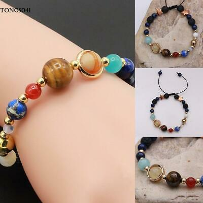 Universe Solar System Galaxy Eight Planets Stone Beads Braided Bracelet O041