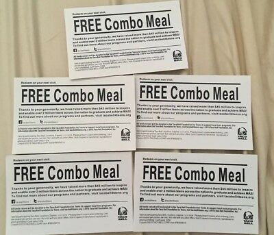 (5) Taco Bell Combo Meal Certificates Cards Vouchers EXP 12-31-19