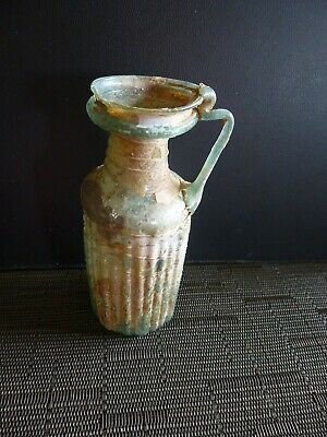 ANCIENT Roman Aubergine Glass Pitcher w/ Trefoil Mouth- SIDONIAN Mid 1st-2nd CE