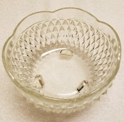 Vtg Vintage Indian Glass Diamond Point Clear Candy Dish Footed Bowl Scalloped