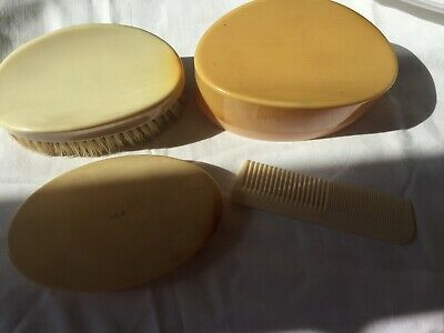 BAKELITE BRUSH AND COMB SET made in england