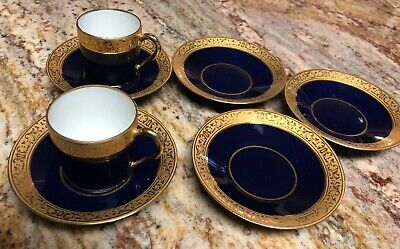 2 Vintage Limoges Gold Cobalt Blue Cup 5 Saucers Made In France Porcelain