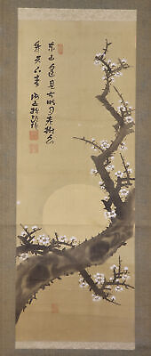 """JAPANESE HANGING SCROLL ART Painting """"Plum blossom and Moon""""  #E6919"""