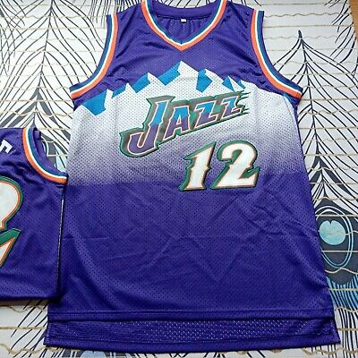 fc6ed0f2c Utah Jazz  12 John Stockton  32 Karl Malone Throwback Swingman Basketball  Jersey