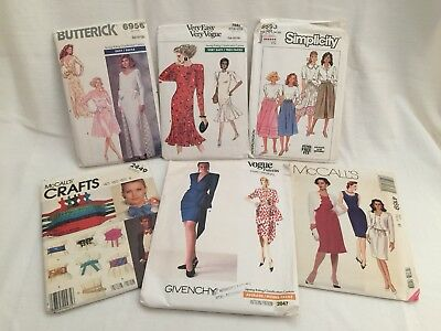 6 Vintage 1980's Patterns Vogue Butterick Simplicity McCall's Size 14-18 Uncut