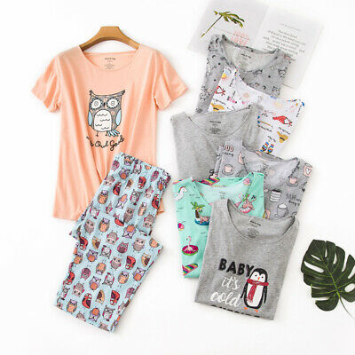 Cartoon Short Sleeve Pajamas Women Summer Pajamas Set Nightwear Pyjamas Homewear