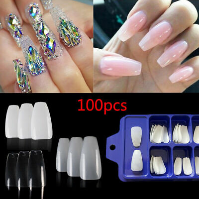 100pcs Professional Fake Nails Long Ballerina Half French Acrylic Nail Tips NEW