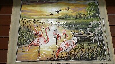 Printed Tapestry Canvas. Flamingoes. Canvas 79X59Cm. Picture 65X50Cm.