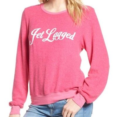 363d8a702b Wildfox Couture Women's Pink Jet Lagged Baggy Beach Pullover Jumper Size M