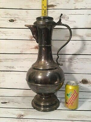 Vtg Silverplate Water Pitcher Large Tall Made in Italy Silver Plate Jug Pot Lid