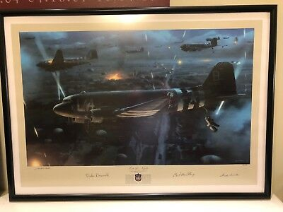 """Valor Studios """"Into the Night"""" D-Day Art Print Signed w/ Deluxe Archival Frame"""