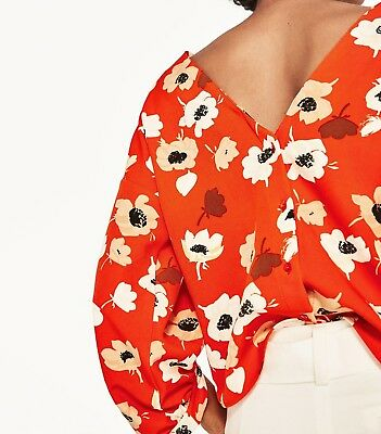 d41a0787ae5ad Zara Floral Printed Blouse Orange Puff Sleeve Top Size M 10 Uk 38 Eu 6 Us