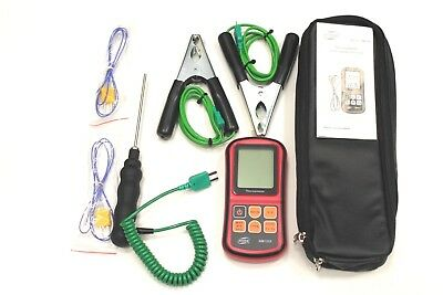 HVAC Thermometer Kit Two Clamp Probes, Liquid Probe, Two Wire Air Probes,& Case