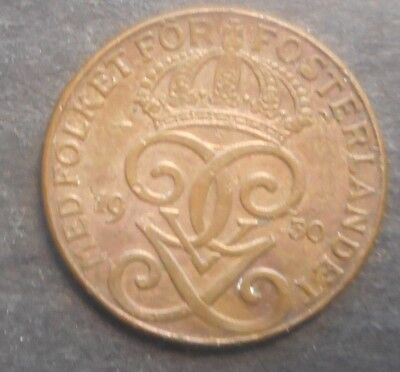 Sweden  1930 2  Ore Coin Nice  traces red High grade