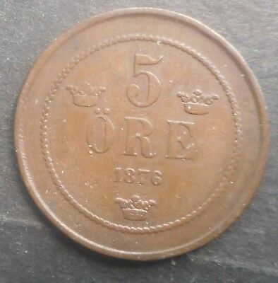 Sweden  1876 5  Ore Coin Nice  Better  Grade
