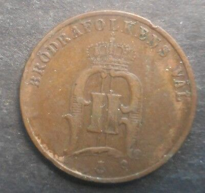 Sweden  1895 2  Ore Coin Nice   Better Grade