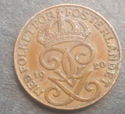 Sweden  1920 1  Ore Coin Nice  High   Grade