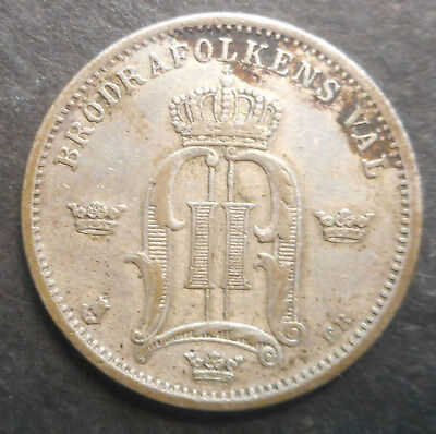Sweden  1898 50  Ore Silver Coin  Better Detail
