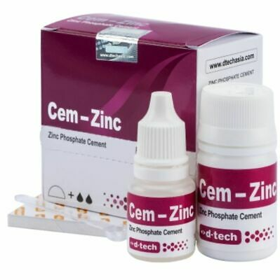 D-Tech Cem Zinc Phosphate Cement Permanate Tooth Filling 30Gm Powder 15Gm Liquid