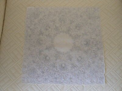 Vintage Wedding Handkerchief Heavily Hand Embroidered Butterflies Chrysanthemums