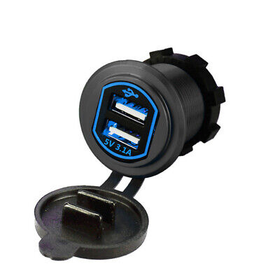 Waterproof Aluminum Dual USB LED Charger Socket Power Outlet 2.1A&1A (3.1A)+Wire