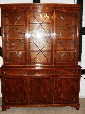 Antique Georgian Style Yew Wood Dresser Bookcase Display Unit Drinks Cabinet