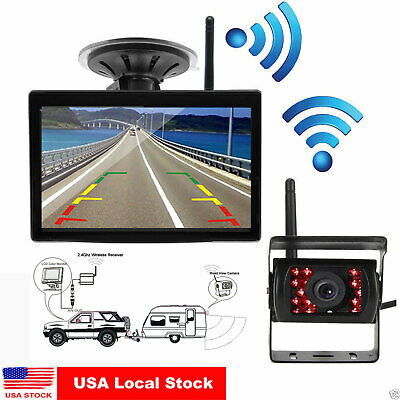 """Wireless IR Rear View Backup Camera Night Vision +5""""HD Monitor for RV Truck Bus"""