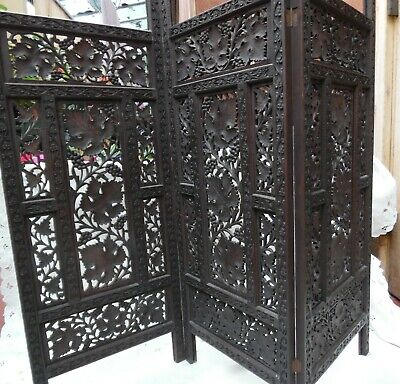 Antique Carved/decorative Wood Screen Three Folds