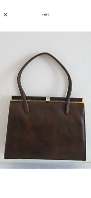 Original Vintage 1960's Dark Brown Real Leather Kelly Handbag