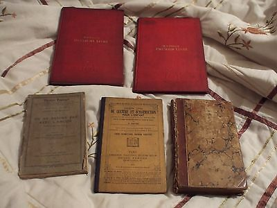 5 Antique French Books 1825 - 1906