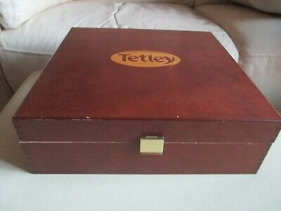 TETLEY TEA Wooden Display Box / Chest / Caddy / Holder With 9 compartments