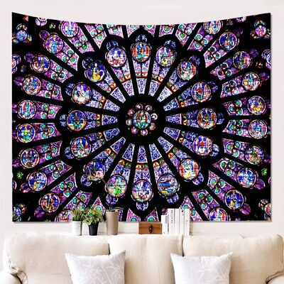 USA NOTRE DAME CATHEDRAL Paris ROSE WINDOW TAPESTRY WALL HANGING Room DECOR