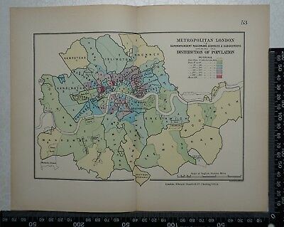 1885 Original Stanford's Parliamentary Map of Metropolitan London by Population