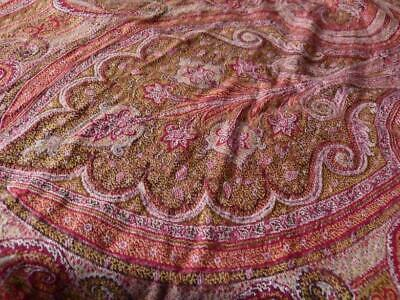 """1860 FRENCH CASHMERE SHAWL / TABLECLOTH LISIERE ARLEQUINEE 68x66"""" GORGEOUS"""