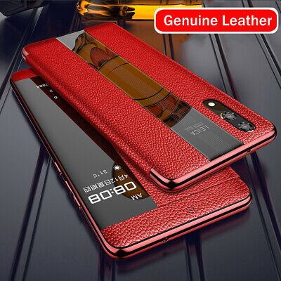 Luxury Genuine Leather Flip Case For Huawei Mate20 P20 P30 Pro Smart Touch Cover